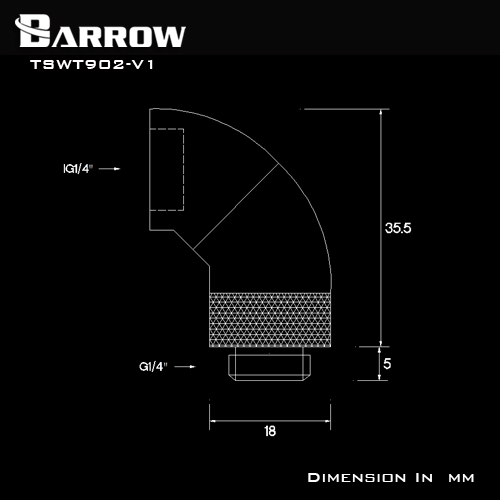 Fitting Barrow 45×2 Male-female (Black)