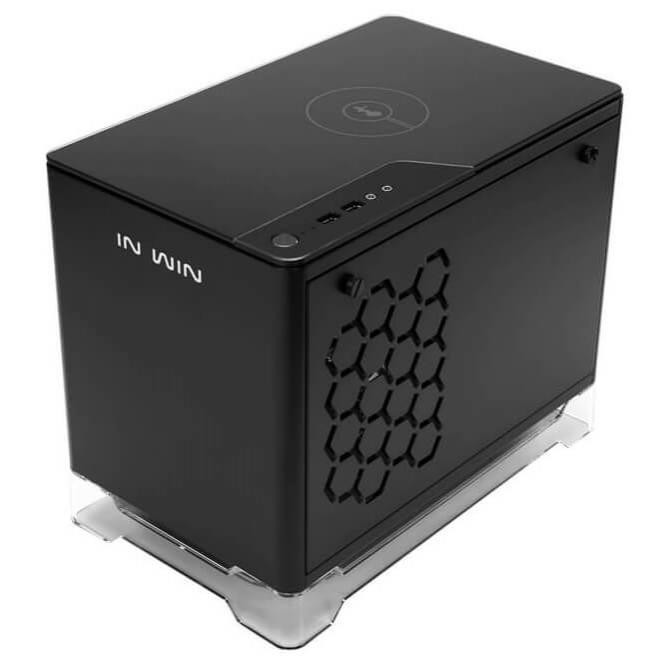 Vỏ case InWin A1 Black QI Charger - Full Side Tempered Glass Mini ITX
