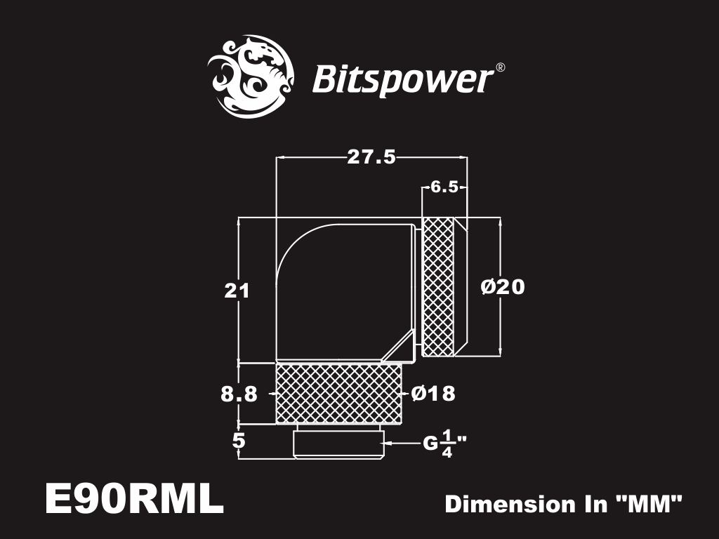 FITTING Bitspower 90+com OD:12 male-female (Carbon Black)