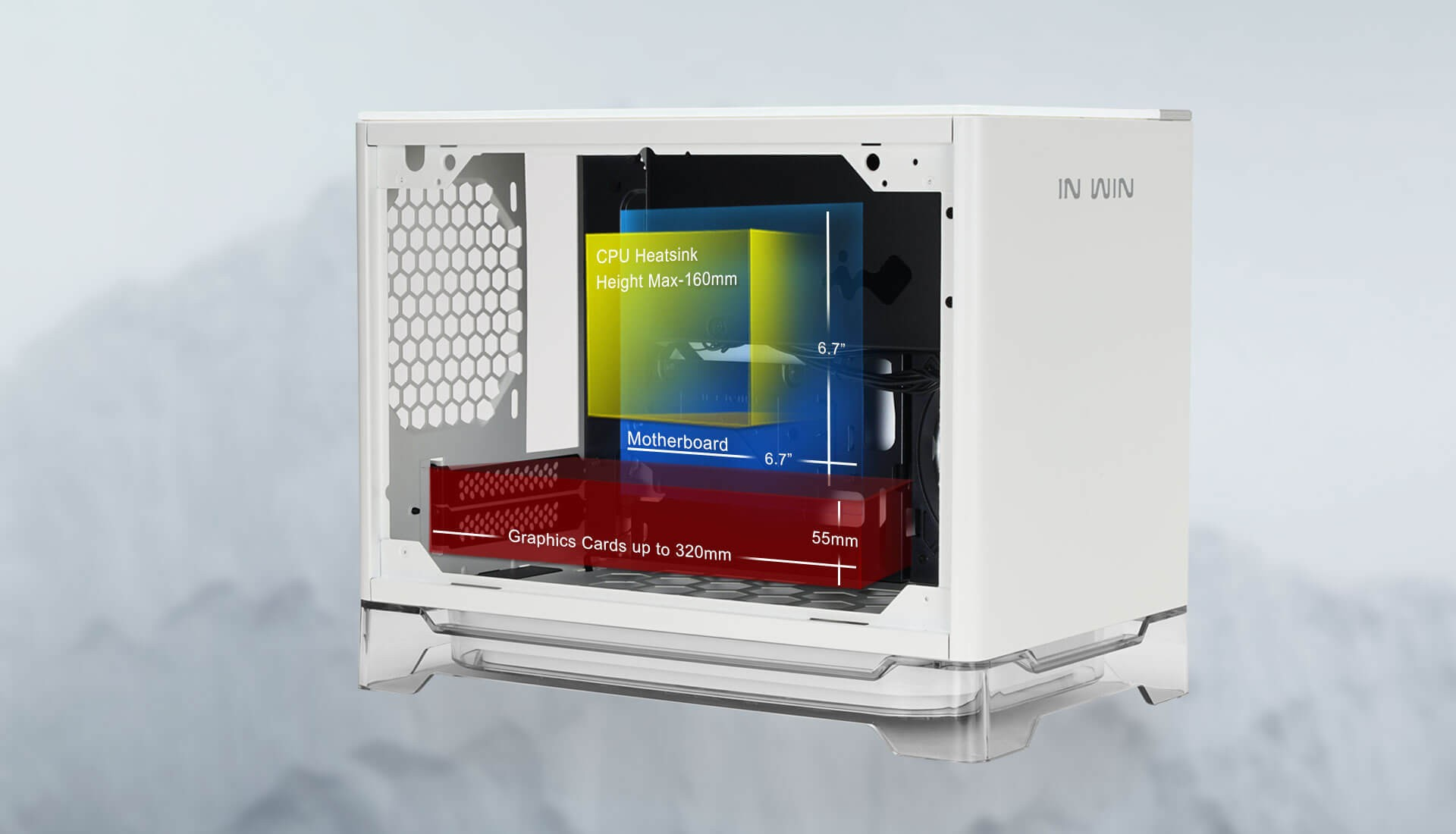 Vỏ case InWin A1 Plus White QI Charger - Full Side Tempered Glass Mini ITX